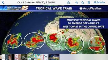 Even as Tropical Storm Isaias remains in the Atlantic, forecasters have shown multiple weather systems set to across the West Coast of Africa in the coming days. Photo: Provided