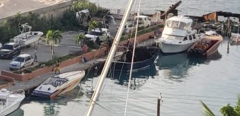 A fishing boat was destroyed by fire in Baughers Bay early this morning, Wednesday, November 18, 2020. Photo: VINO