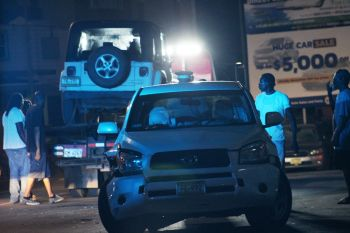 The two vehicles involved in the accident on Fish Lock Road, Tortola, on July 19, 2019. Photo: VINO
