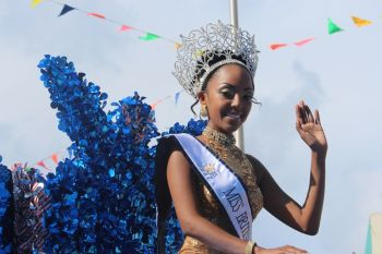 Newly crowned Miss BVI, Ms Rosanna Chichester featured among several pageant queens and contestants along the parade route. Photo: VINO