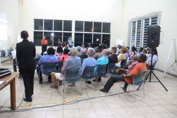Some of the persons at the public forum at the Valerie O. Thomas Community Centre in Sea Cows Bay, Tortola, on Thursday, January 30, 2020. The meeting was called by Third District Representative, Hon Julian Fraser RA. Photo: VINO