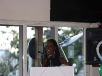 St George's Secondary School Principal, Dr Antoinette Rock expressing gratitude for the donation of twelve computers from Rotary Club of Tortola. Photo: VINO