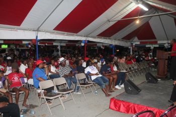 The final 'tent meeting' for the National Democratic Party ahead of the polls on Monday June 8, 2015 was held at the Road Town Market Square on June 6, 2015. Photo: VINO