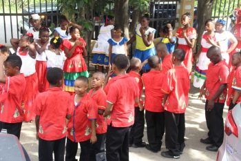 Students of Althea Scatliffe Primary School in their Territorial wear today, November 17, 2016. Photo: VINO