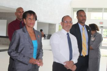 When members of the Rotary Club of Tortola handed over a $50k pledge cheque to the Minister for Health and Social Development Honourable Ronnie W. Skelton Acting District Governor of Rotary Ms Delma Maduro, left, said that it was largest donation to be made by a single Rotary Club in the history of the Virgin Islands. In Photo, Centre Past Assistant Governor Gerard St. C. Farrara QC and President of the Rotary Club of Tortola Mr Henry O. Creque, right. Photo: VINO