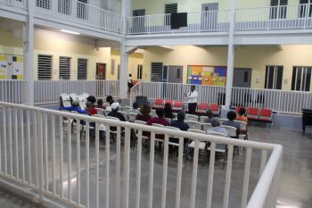 Member of the Opposition and Second District Representative, Honourable Melvin M. Turnbull speaking to residents of Spooner's Estate at the Enis Adams Primary School in Meyers Estate on Tuesday, February 4, 2020. Photo: VINO