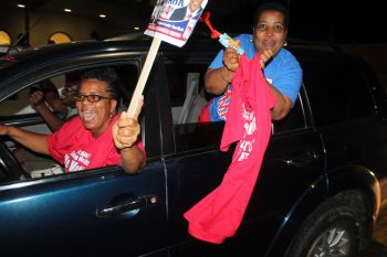 Some of Hon Mark H. Vanterpool's supporters during his motorcade on June 8, 2015. Photo: VINO