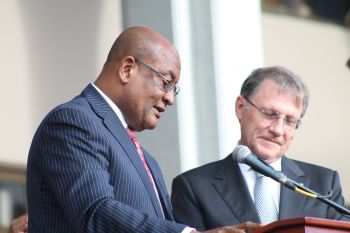 Minister for Health and Social Development Honourable Ronnie W. Skelton taking the Oath of Office. Photo: VINO