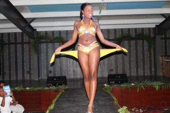Contestant #1 and Miss Air/First Runner up, Jaidene Webb in her winning swimsuit done by Mr Derrick Alphonso. Photo: VINO