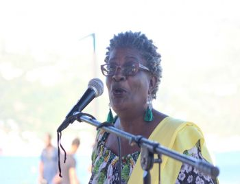 Dr Patricia G. Turnbull, local author, calls for more support for the creative minds in the community at her book launch for 'Ti Koko and Kush Kush' on Sunday, February 18, 2018 at the Queen Elizabeth Park II in Road Town, Tortola. Photo: VINO