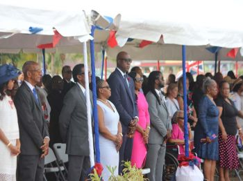 Premier Dr The Hon D. Orlando Smith (AL), Deputy Premier Dr The Hon Kedrick D. Pickering (R7) and Minister for Education and Culture Hon Myron V. Walwyn (AL) were some of the elected representatives who attended the Queen's Birthday Parade at Wickham's Cay II on June 17, 2017. Photo: VINO