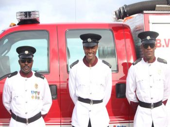 Members of the Virgin Islands Fire and Rescue Service who received Medals of Service at the Queen's Birthday Parade at Wickham's Cay II on June 17, 2017. Photo: VINO