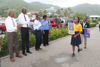 The team was greeted by (L-R) Premier and Minister of Finance Dr the Honourable D. Orlando Smith, Minister for Education and Culture Hon. Myron V. Walwyn, At Large Representative Hon. Archibald C. Christian and Fifth District Representative Hon. Delores Christopher. Photo: VINO