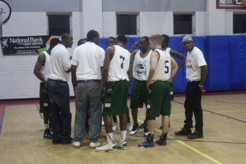 Team Bayside Blazers in a huddle during the game. Photo: VINO