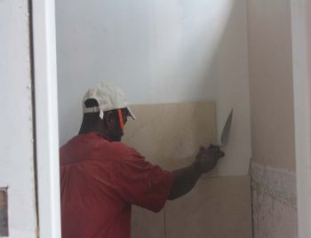 Repairs taking place inside the home of the House of Assembly (HoA) in Road Town, Tortola. Photo: VINO