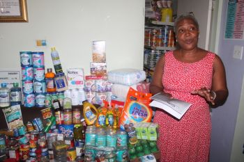 Yesterday September 2, 2014, a hefty amount of the supplies were handed over to the FSN and evidently space was a challenge to hold the stuff. That's no problem according to FSN's Dr. Sylvia Simmonds who said that families have already been coming and are being given well needed supplies and she was quite sure that as the word gets around they would soon have need for more food. Photo: VINO