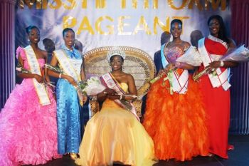 The five contestants in the Miss Fifth Form 2013 Pageant were: Left to right- Akeila Louis, Sherise Stapleton, Kadian Johnson, Armoy James and La'Quan Reid. Photo: Reuben Stoby/VINO