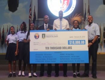 Dr The Honourable D. Orlando Smith (AL), Premier and Minister of Finance, and Honourable Myron V. Walwyn (AL), Minister for Education and Culture, with winners of $10,000, Elmore Stoutt High School. Photo: VINO