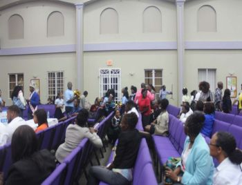 Members of the audience after the winner of the Recovery and Development Plan competition was announced. Photo: VINO