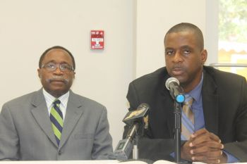 Hon Julian Fraser RA (R3) and Hon Andrew A. Fahie (R1) called on Premier Dr the Hon D. Orlando Smith to make a statement on the status of BVI Asia House staff in the wake of protests in Hong Kong. Photo: VINO/File