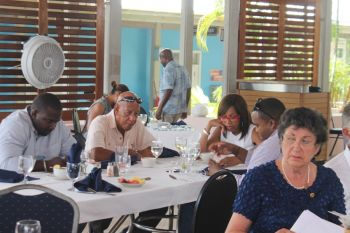 Eighth District Representative, Hon Marlon A. Penn (left) and First Lady, Lorna G. Smith OBE were some of the attendees at the Rotary Club of Tortola's Luncheon Meeting on June 18, 2015. Photo: VINO
