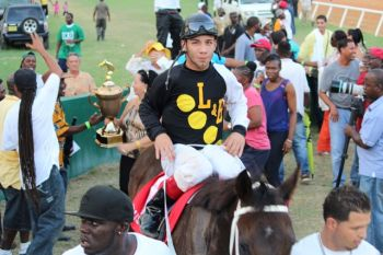 Winning jockey in the feature race of the Boxing Day meet at Ellis Thomas Downs, Alberto Soto Morales. Photo: VINO