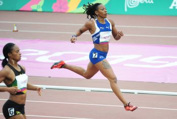 Ashley N. Kelly had a non-advancing time in her 400m semifinal, finishing in 54.42 seconds at the 18th Pan Am Games in Lima, Peru on Wednesday, August 7, 2019. Photo: Todd VanSickle