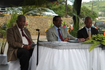 Speakers at the rededication ceremony of The Stickett held in Long Look last evening July 24, 2013 were (from left to right) Honourable Ralph T. O'Neal, Dr the Honourable Kedrick Pickering and Premier Dr. the Honourable D. Orlando Smith. Photo: VINO