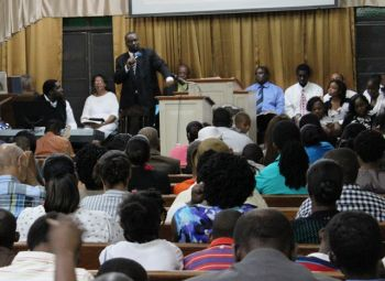 Elder Calvin Matthews preaches the word to his congregation at the Seventh Day Adventist Church in Road Town. Photo:VINO