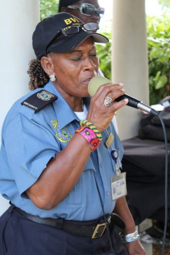 When Virgin Islands News Online's roving reporters passed by recently we were drawn by the melodious singing of Rosee Smith, a resident who during her lunch break stopped by to pull a few tunes. Photo: VINO