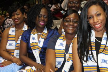 Remembering their high school days? Past students of the Elmore Stoutt High School at the ESHS graduation ceremony on Thursday June 25, 2015. Photo: VINO