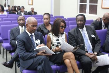 Premier Dr the Hon D. Orlando Smith seated with his wife Mrs Lorna G. Smith and PEP Chairman Hon J. Alvin Christopher. VIP Chairman Hon Julian Fraser RA (R3) is in second row. Photo: VINO