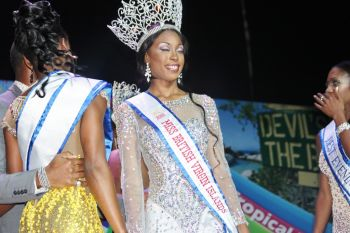 Miss BVI 2015 Adorya R. Baly on the evening she won her crown. Photo: VINO