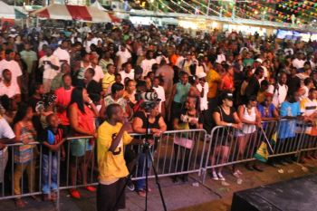 Section of the mammoth crowd at the Soca Monarch show last night. Photo: VINO