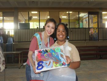 Finished product of the painting activity with Miss World Korea Kim Ha-eun. Photo: VINO