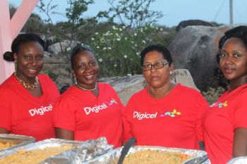 Sporting the T-Shirts of the main sponsor, Digicel, these ladies took care of the food side of things. Photo: VINO