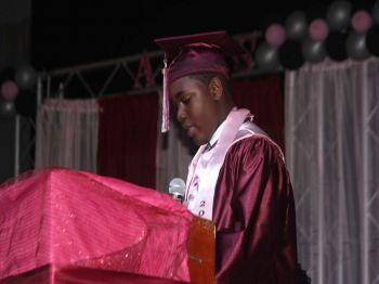 Andre Smikle, Valedictorian of the Althea Scatliffe Primary School, during his welcome remarks. Photo: VINO/File