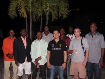 Many of the Bayside Blazers' personnel who made it to the social on Scrub Island on November 28, 2014 including (front row), Lennox S. Caines, Julian Willock, scorer Gavin J. Foster, Louie A. Poblete and Ken E. Silva. (back row), Jason A. Edwin, Asim Z. C. Beazer, Sandy E. Nadal, and Rhennie O. Phipps. Photo: Team Bayside Blazers