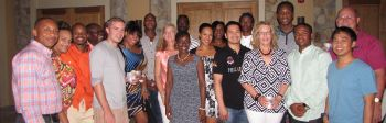 Team Bayside Blazers' players, coaches and other officials and their spouses at the social at the Scrub Island Resort in honour of the team's championship season. Photo: Team Bayside Blazers