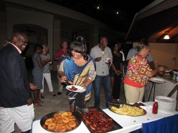 Team personnel and their spouses enjoying the social at Scrub Island Resort. Photo: Team Bayside Blazers