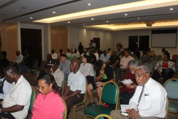 A section of the audience at the findings for the Environmental Impact Assessment (EIA) for the Cruise Pier Development project. Photo: VINO