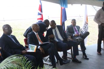 Chairman of the BVIEC Board of Directors Ron R. Potter, Premier Dr the Hon D. Orlando Smith, Minister Vanterpool and General Manager of the BVIEC Leroy A. E. Abraham. Photo: VINO