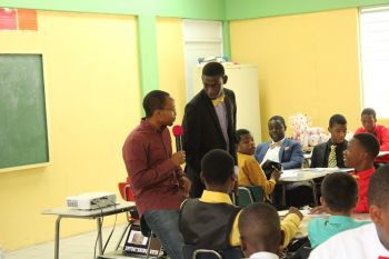 Youth mentor, musician and former school counsellor, Mr Jovan E. L. Cline spoke to the male students about 'Positive Thinking and Meeting Your Goals'. Photo: VINO