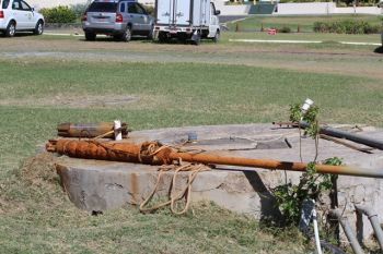 The pump which was reported as being damaged and in need of a part for repairs. Photo:VINO
