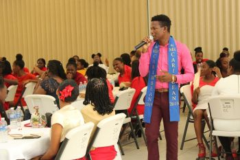 The girls were also given a surprise appearance by Mr Caribbean Yohance T. Smith, who serenaded the ecstatic young ladies in song. Photo: VINO