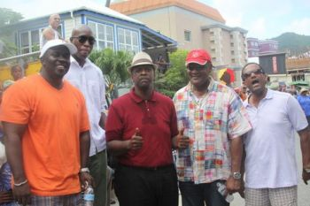 Legislators at yesterday's parade, L-R Hon. Marlon A. Penn, Hon. Myron V. Walwyn, Hon. Andrew A. Fahie, Hon. Ronnie W. Skelton, Dr The Hon. Kedrick D. Pickering. Photo: Team of Reporters