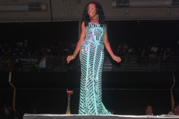 Contestants #1 Raemona Maloney in evening wear. Photo: VINO