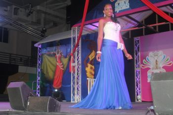 Contestant #3 Mekyla Phillips in evening wear. Photo: VINO