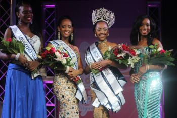 The four contestants in this year's Miss BVI Pageant put on an excellent show at the Multi Purpose Complex on August 4, 2013. Photo: VINO