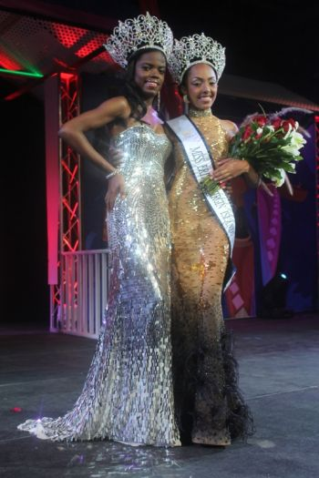 Ms BVI 2012/13 Sharie B.Y. deCastro (left) with the new queen, Ms Rosanna Chichester. Photo: VINO